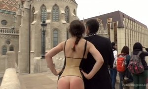 Bare assed babe with fur butt plug Tina Kay is fucked in public