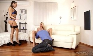 Salacious blonde Mea Melone takes part in crazy group sex orgy