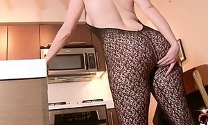 Super-fucking-hot ginger-haired wifey in assets stockings ravages herself for you sexvideo