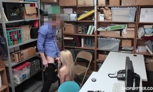 Security guard offers teen shoplifter a sex deal and fucks her at his office.