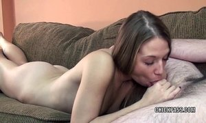 Blonde hottie Lina on her knees and sucking some dick