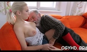 Young playgirl licked by an old lad