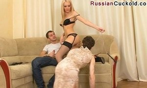 Russian Cuckold - sucks dick her lover