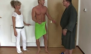 His aged mommy and father tricks her into 3 way sextube