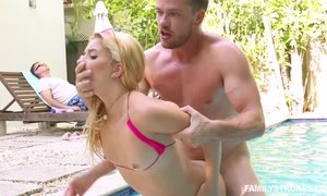 Pool side standing doggy fuck with small titted hot blonde Riley Star