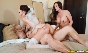 busty, milf, mom, stepmother, threesome