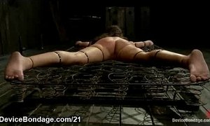 Shackled babe manhandled and fingered while standing