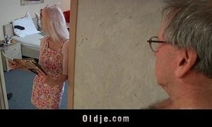 Young maid fucking porn addict grandpa gets cumshot in mouth
