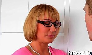 Blonde MILF teacher a stepdaughter how to ride her boyfriend