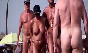 Nudist beach on the French coast with sexy busty milfs