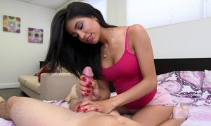 cute mom, handjob, latina mature, massage, moms in bed