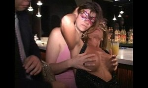 Pink nipple MILF Anna sucks tits cunt and cock at Trapeze club bar