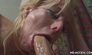 Blonde pornstar gets face full of deepthroat spunk