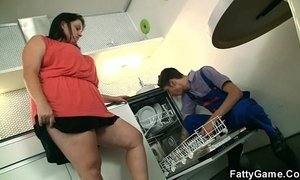Lewd fatty seduced a service man to sex