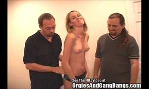 Hottie Blondie Fucked by Two Dicks!
