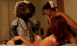 Sexy chick Jodi Taylor is fucked hard by one cute alien with a big long dick